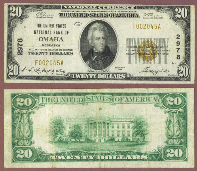 Nebraska 1929 $20.00 Type 1 FR-1802-1