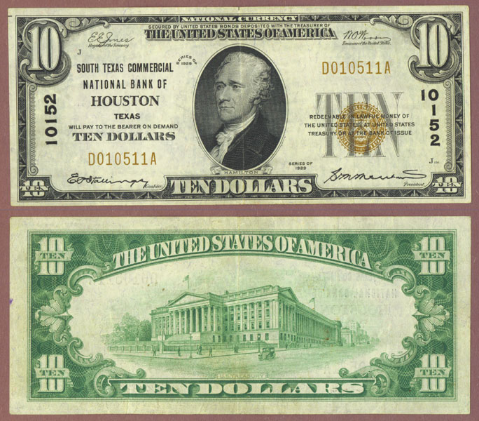 Texas 1929 $10.00 Type 1 FR-1801-1 Charter 10152 US small size national bank note brown seal