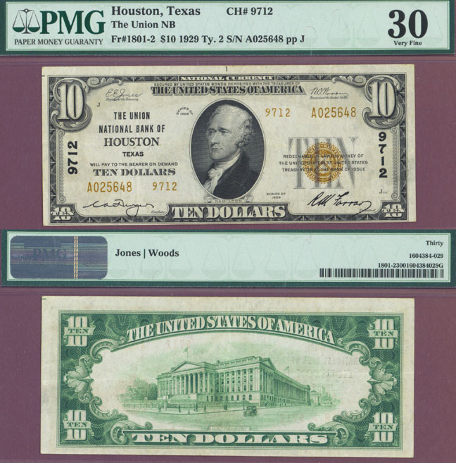 Texas 1929 $10.00 Type 2 FR-1801-2 Charter 9712 US small size national bank note