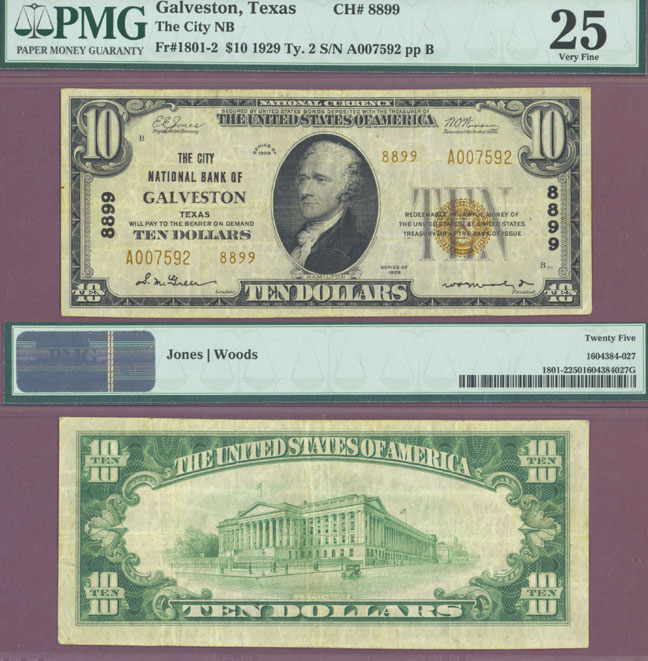 Texas 1929 $10.00 Type 2 FR-1801-2 Charter 8899 US small size national bank note