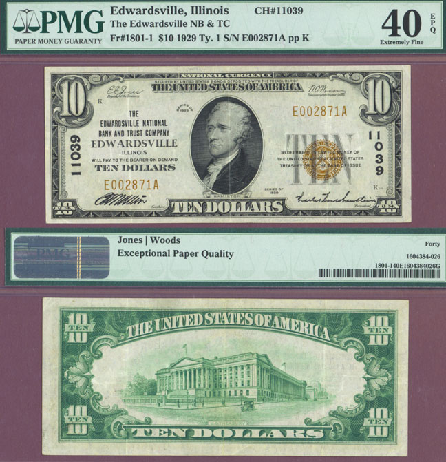 Illinois 1929 $10.00 Type 1 FR-1801-1 Charter 11039 US small size national bank note
