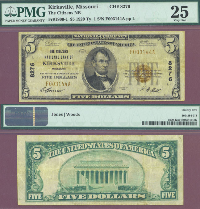 Missouri 1929 $5.00 Type 1 FR-1800-1 Kirksville Charter 8276 US small size national bank note
