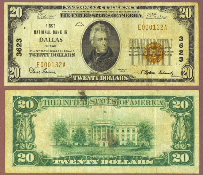Texas 1929 $20.00 Type 1 FR-1802-1 Charter 3625 US small size national bank note