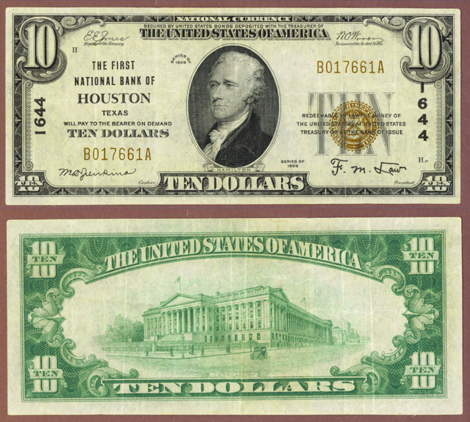 Texas 1929 $10.00 Type 1 FR-1801-1 Charter 1644 US small size national bank note