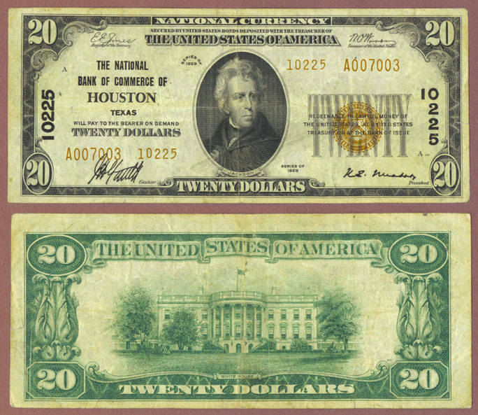 Texas 1929 $20.00 Type 2 FR-1802-2 Charter 10255 US small size national bank note
