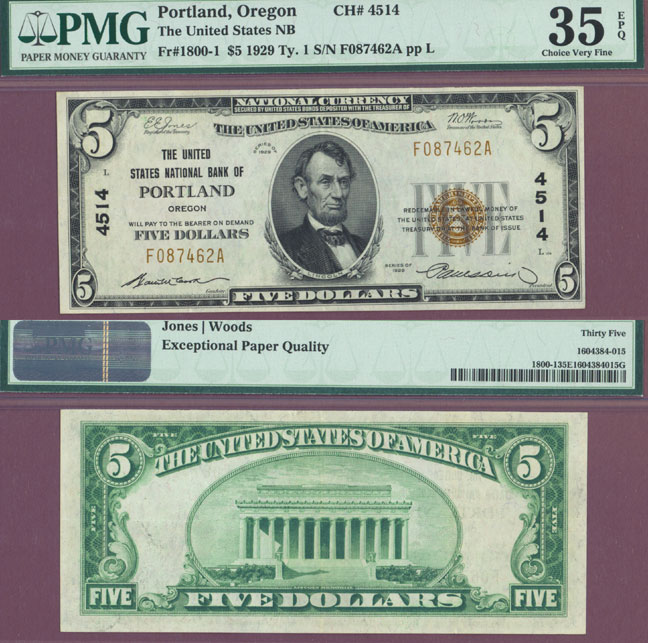 Oregon 1929 $5.00 Type 1 FR-1800-1 Charter 4514 US small size national bank note