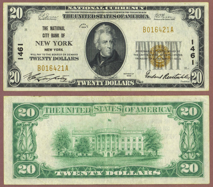 New York 1929 $20.00 Type 1 FR-1802-1 Charter 1461 US small size national bank note