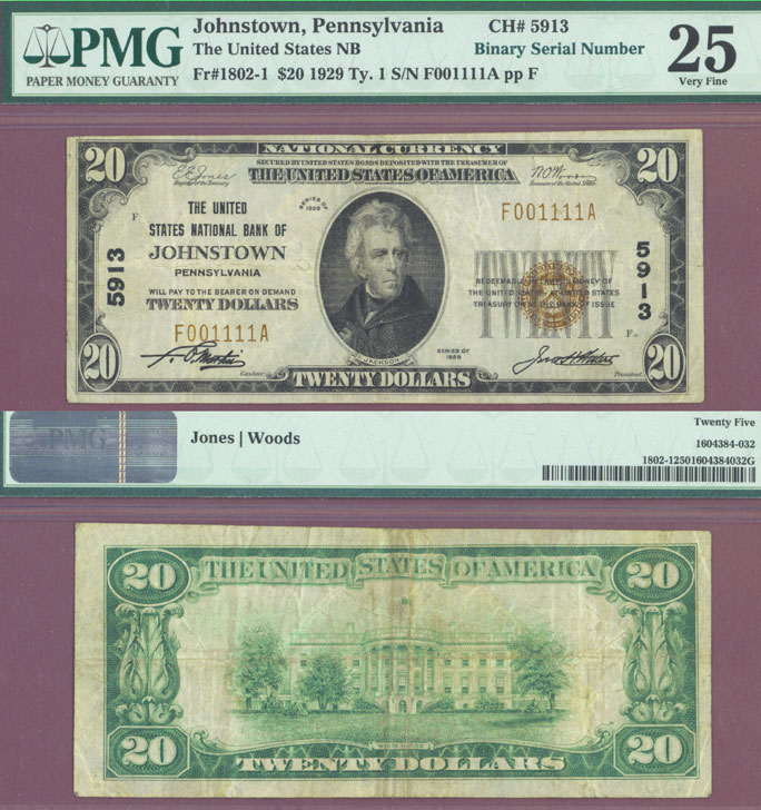 Pennsylvania 1929 $20.00 Type 1 FR-1802-1 Charter 5913 US small size national bank note PMG Very Fine 25