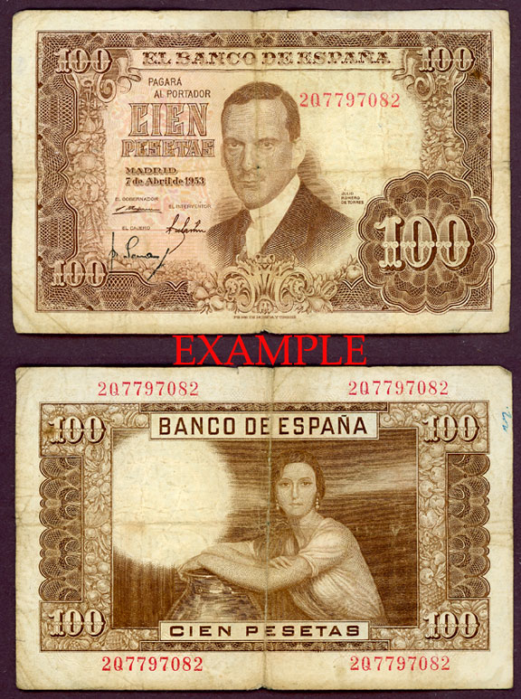 1953 100 Pesetas