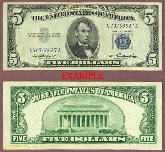 1953 $5 FR-1655 US small size silver certificate