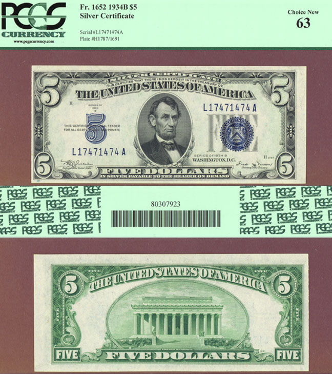 1934-B $5 FR-1652 Small US Silver Certificate PCGS Choice New 63