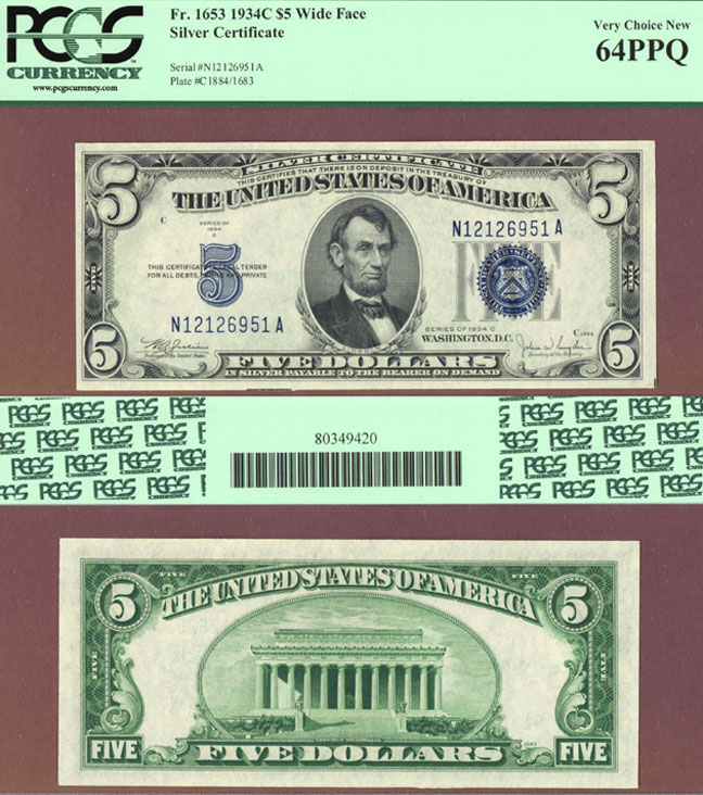 1934-C $5 FR-1653W Small US Silver Certificate Very Choice New 64 PPQ