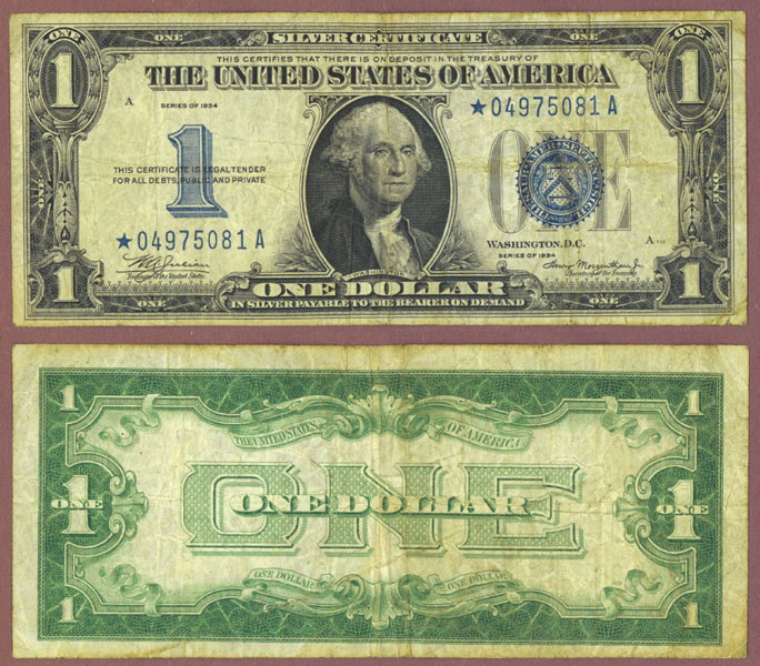 1934 $1 FR-1606* STAR note funny back silver certificate