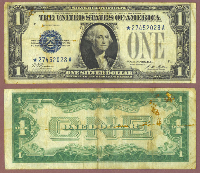 1928-A $1 FR-1601* STAR note funny back silver certificate