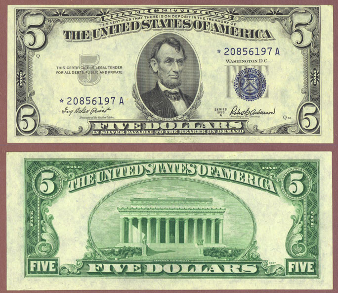 1953-A $5 FR-1656* STAR note silver certificate