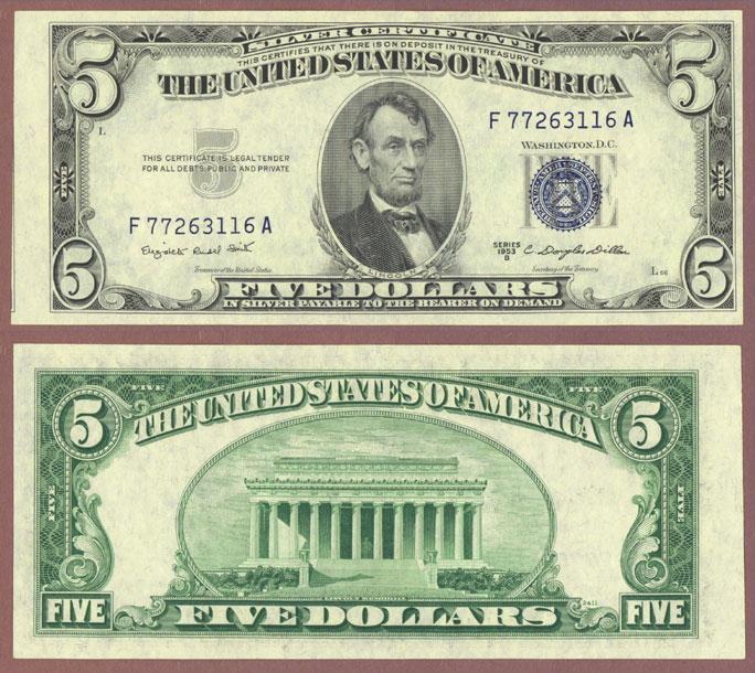 1953-B $5 FR-1657 US silver certificate