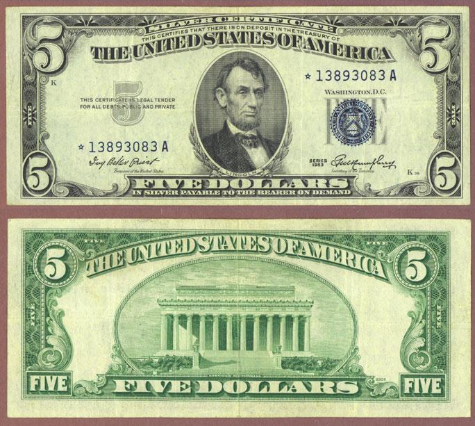 1953 $5 FR-1655* US Silver Certficate Satr Note