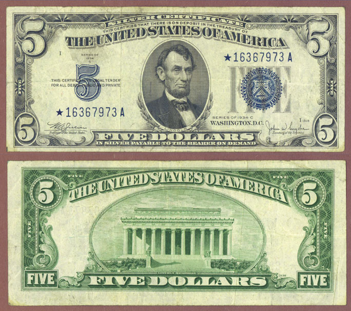 1934-C $5 FR-1653* US Small Silver Certificate STAR NOTE