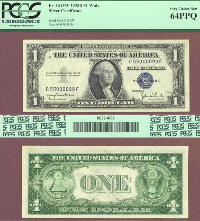 1935-D $1 FR-1613W Fancy Serial Number US small size silver certificate