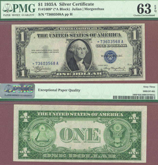 "1935-A $1 ""STAR"" FR-1608* US small size silver certifcate star note blue seal"