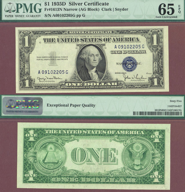 1935-D $1 FR-1613N US small size silver certificate blue seal