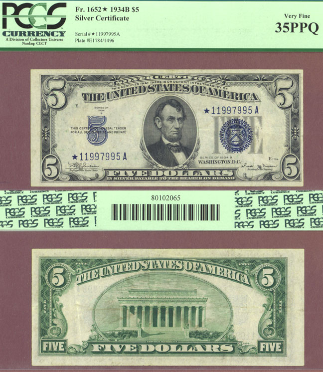 "1934-B $5 FR-1652* ""STAR"" US small size silver certificate blue seal"