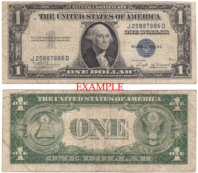1935-B $1 FR-1611 US small size blue seal silver certificate