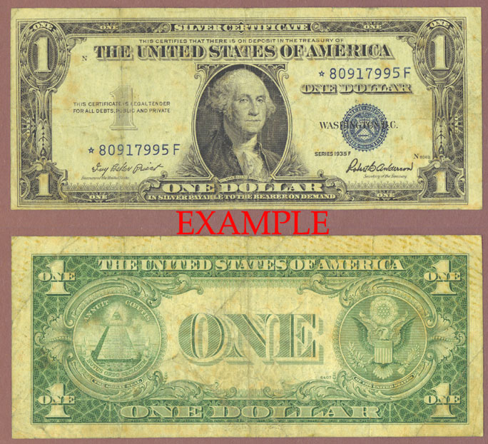 1935-F $1 FR-1615* *STAR* US small size silver certificate blue seal