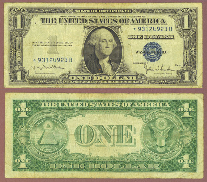 "1935-D $1 ""STAR"" FR-1613W* US small size silver certificate blue seal"