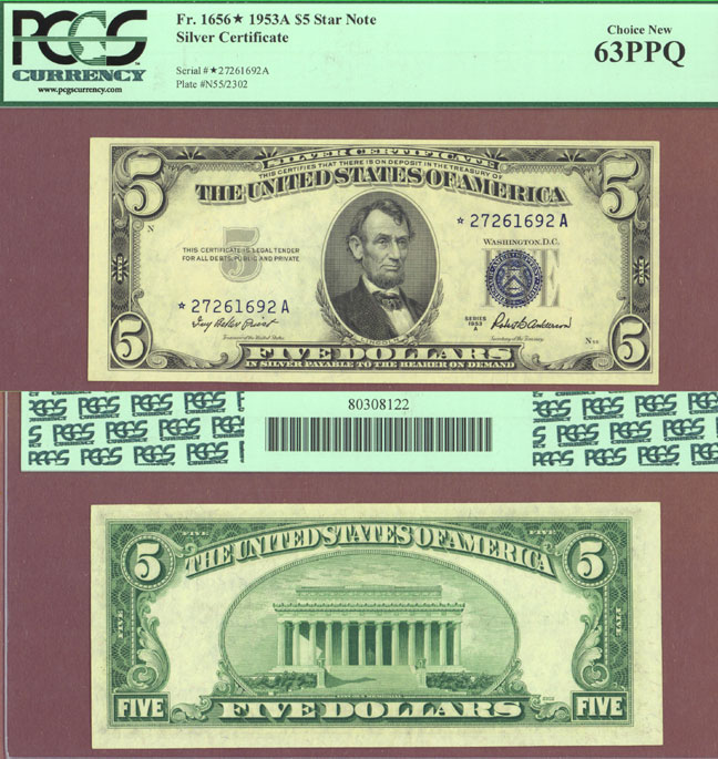 1953-A $5 FR-1656* STAR US small size silver certificate PCGS Choice New 63 PPQ