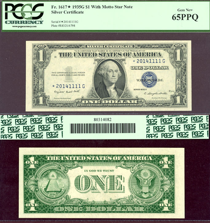 "1935-G $1 FR-1617* With Motto ""STAR"" 65PPQ US small size silver certificate PCGS GEM NEW 65PPQ"