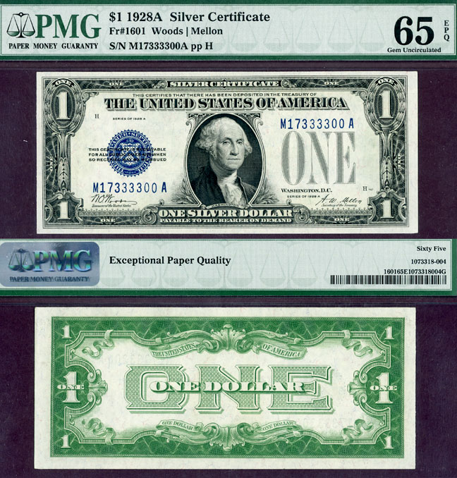 1928-A $1 FR-1601 US small size silver certificate blue seal PMG GEM-65EPQ