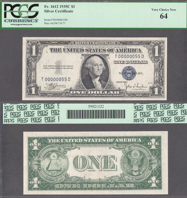 1935-C $1 FR-1612 - LOW 2 DIGIT SERIAL # US small size blue seal silver Certificate