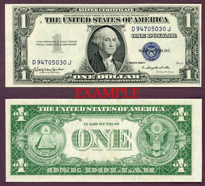 1935-H $1 US small size silver certificate blue seal