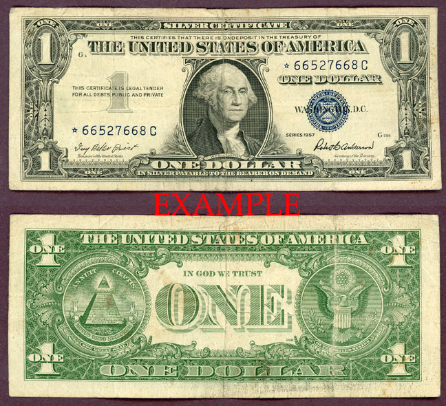 1957 $1 FR-1619* *STAR* US small size silver certificate blue seal