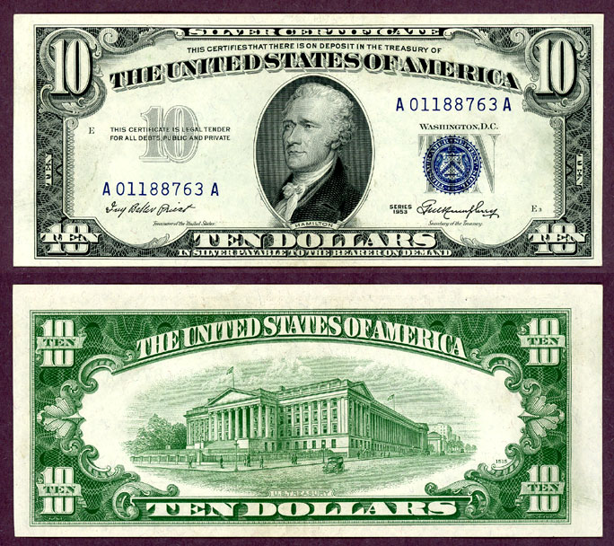 1953 $10 FR-1706 US small size silvercertificate blue seal