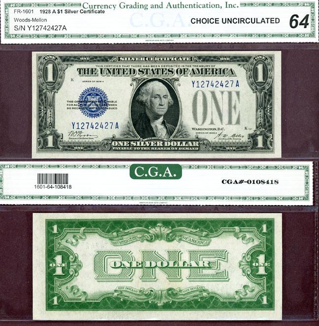 1928-A $1 FR-1601 US small size silvercertificate blue seal funny back CGA-CU 64