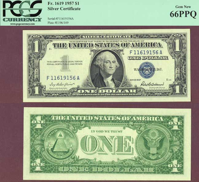 1957 $1 FR-1619 PCGS Gem New 66PPQ US Silver Certificate