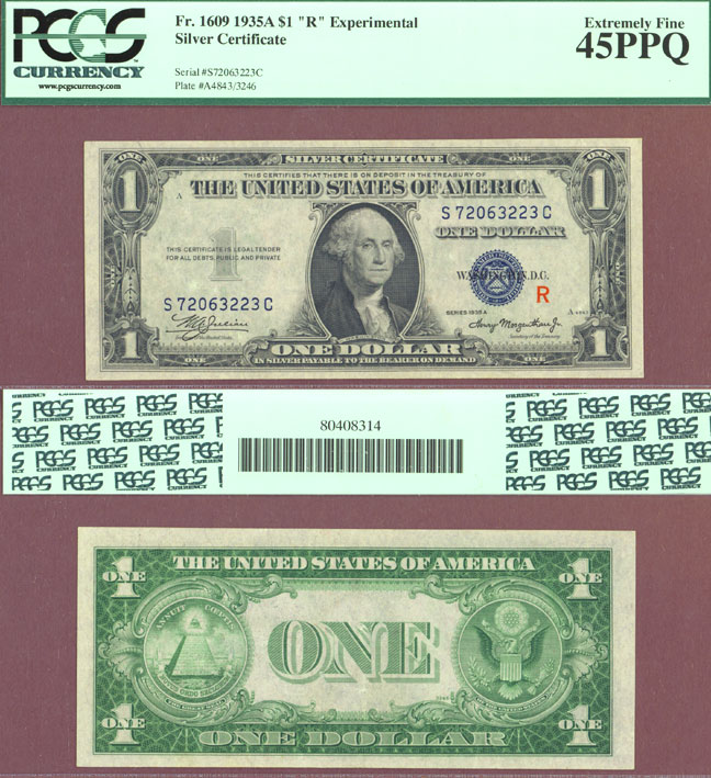 "1935-A $1 ""R"" Note FR-1609 Experimental US Silver Certificates"