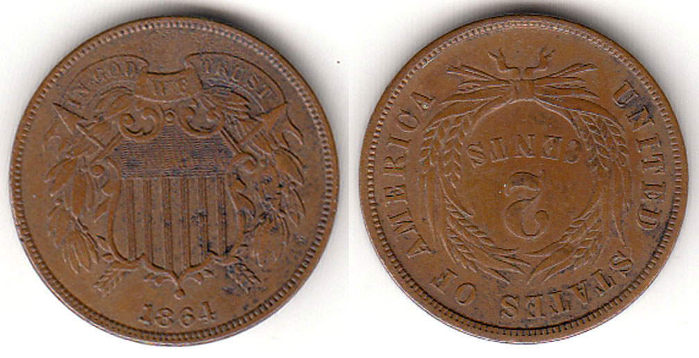 1864 2c US Two Cent Piece, Old two cent coin, civil war era us coin