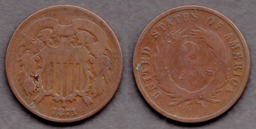 1871 2c US two cent piece