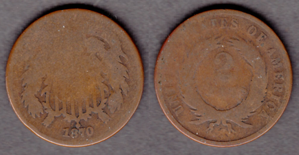 1870 2c US two cent piece