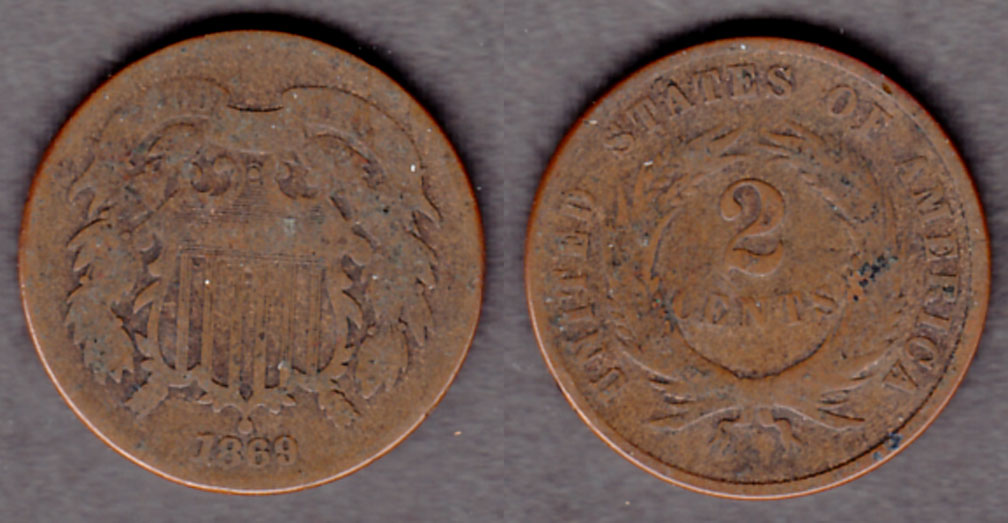 1869 2c US two cent piece