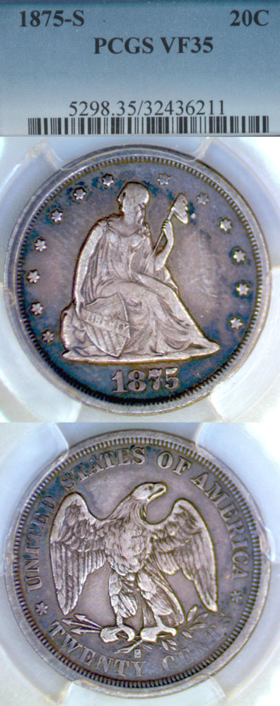 1875-S 20c US Twenty cent piece PCGS Very Fine-35