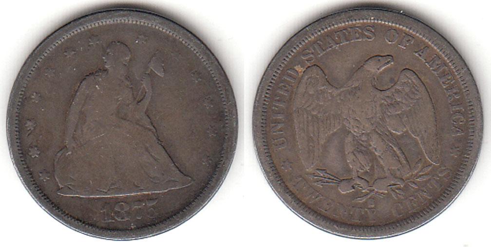 1875-S 20c US silver ywenty cent piece