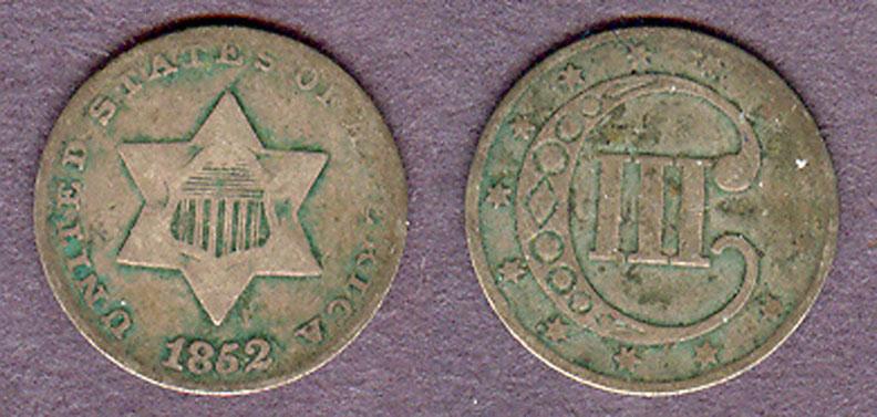 1852 3c Type 1 US silver three cent piece