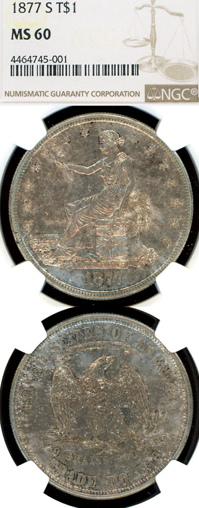 1877-S $ US silver Trade dollar