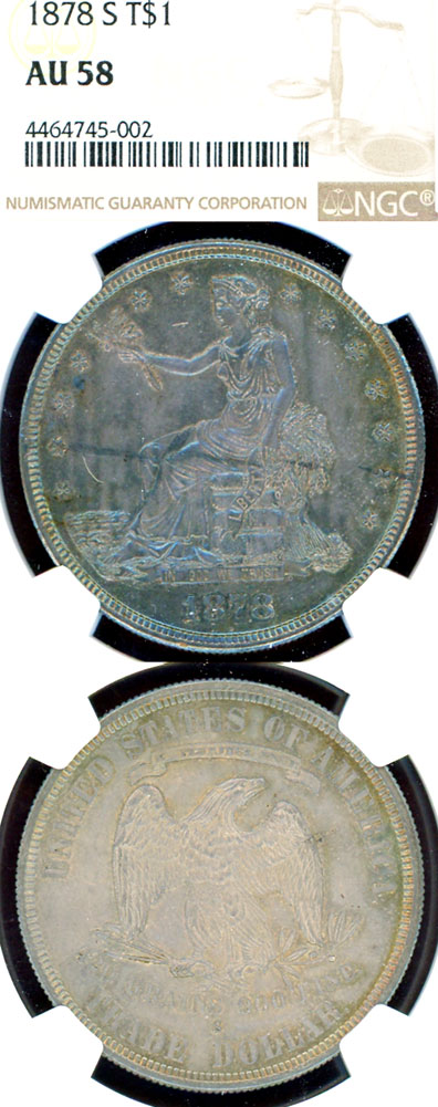 1878-S $ US Silver Trade dollar NGC About Uncirculated 58