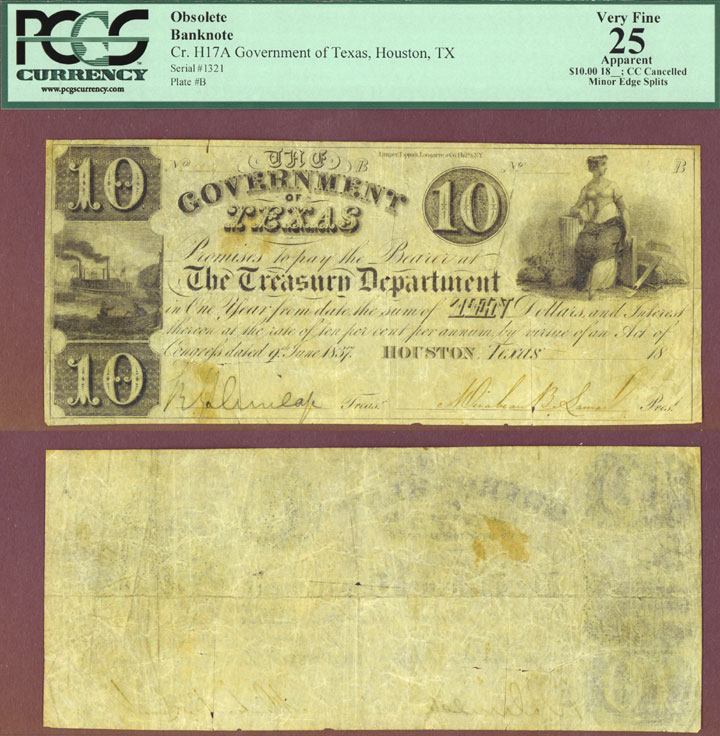 Government of Texas - $10.00 H-17A Republic of Texas note PCGS Very Fine 25