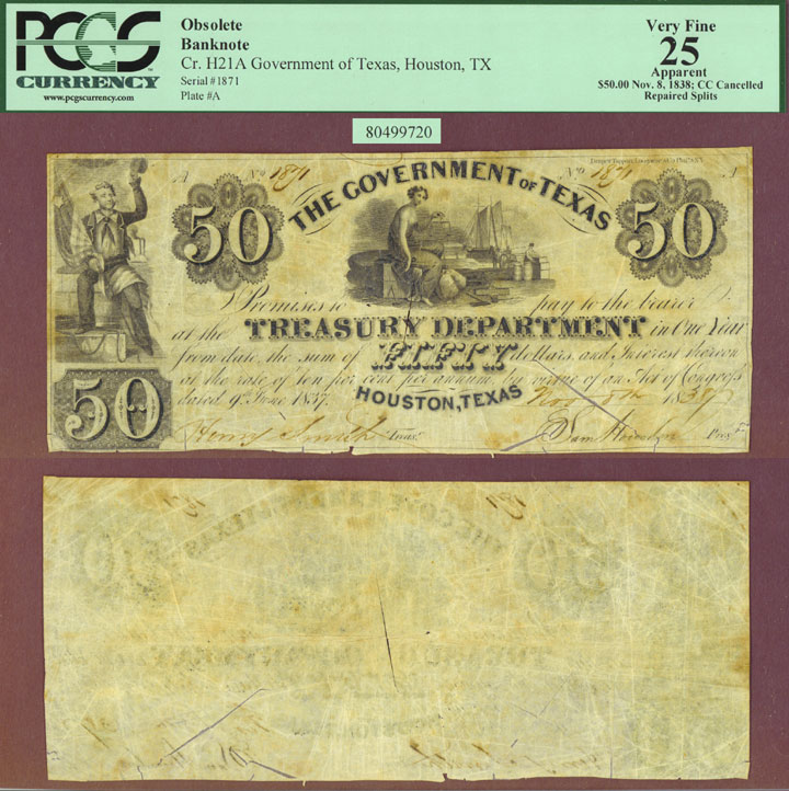 Government of Texas - $50.00 H21 A Republic of Texas note PCGS Very Fine 25